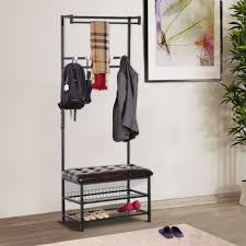 Entryway Shoe Storage Bench Coat Rack Inspiration Homcom Hall Tree Entryway Shoe Storage Bench Coat Rack Seat Shelf