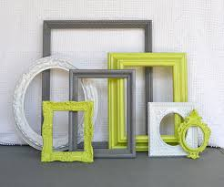 green and gray bedroom ideas. lime green, grey gray white ornate frames set of 7 - upcycled modern bedroom green and ideas