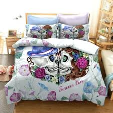 skull bed sets bedding comforter set full sugar cool unique wedding sku garden skull comforter