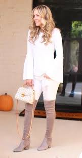 Fantastic long sleeve outfit winter ideas Outfits Casual White Longsleeved Crewneck Top Pair Of Brown Thigh High Boots Pinterest 45 Fantastic Collection Of Winter Outfits Ideas For You Ahhh