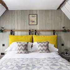 Grey & white bedroom with wood panelling. Cushion HeadboardYellow HeadboardDiy  Bed ...