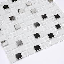 modern white glass metal mosaic backsplash tile modern mosaic tile by backsplash