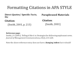 Apa For Mat Example Of Apa Citation In Paper Your Work Note That