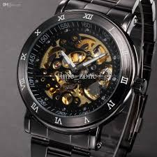 vintage black skeleton dial stainless full steel relogio male vintage black skeleton dial stainless full steel relogio male automatic mechanical self wind clock mens business watch pmw210 fashion watch mechanical