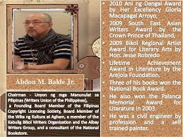 philippine literature from to present abdon m balde jr 4 • published writer