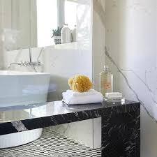 freestanding black marble waterfall shower bench