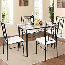 Breakfast sets furniture Breakfast Nook Image Unavailable Amazoncom Amazoncom Tangkula Piece Glass Top Metal Dining Set Kitchen