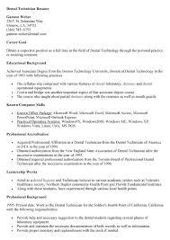 resume for dental technician