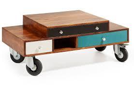 Aron 110x60 in legno tropicale tavolino con cassetti colorati e