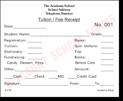 fee receipt format tuition fee receipt school forms