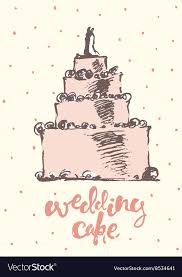 Vintage Drawn Wedding Cake Royalty Free Vector Image