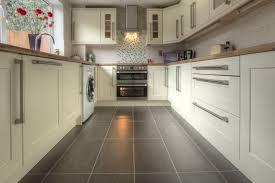 small belfast refurbished kitchen appliances under white wooden kitchen cabinet and tile kitchen backsplash also u shaped wooden countertop