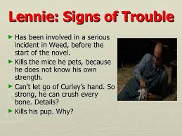 of mice and men revision key points  5 lennie signs of