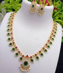 Mango Design Gold Chain Traditional Mango Design Multicolor Cz Gold Plated Finish Haram Necklace Set