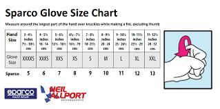 Sparco Glove Size Chart Karts Parts Ltd