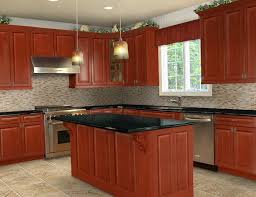 Captivating Appealing Red Sensation With A Ceramic Black Countertop For A Sweet Touch Virtual  Kitchen After