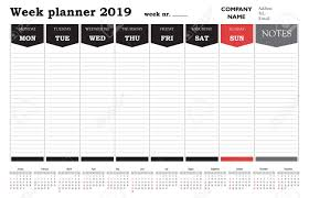 Schedule Calender Week Planner 2019 Calendar Schedule And Organizer For Companies