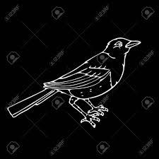 手描きの鉛筆のグラフィック小鳥カササギ鳥彫刻ステンシル スタイルです黒と白のロゴ記号