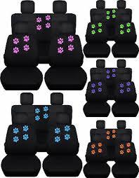 rear black seat covers paw prints fits