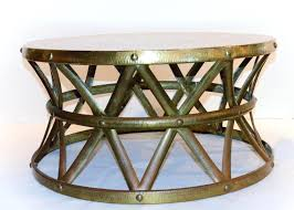 hammered drum coffee table vintage hammered brass on copper drum coffee table hammered drum side table hammered drum coffee table
