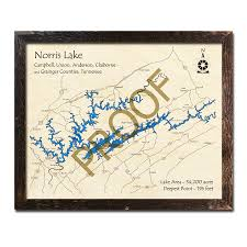 Norris Lake Depth Chart Norris Lake Tn 3d Wood Map Laser Etched Wood Charts