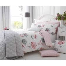 carline duvet set bedding pink white grey fl bedding tj hughes