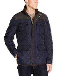 Vince Camuto Men's Quilted Jacket with Plaid Yoke at Amazon Men's ... & Vince Camuto Men's Quilted Jacket with Plaid Yoke, Navy Grey, Small Adamdwight.com