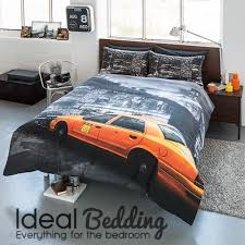 pieridae new york ny montage taxi yellow cab duvet quilt bedding cover and pillowcase bedding set duvet sets complete bedding sets bed sheets