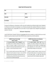 Self Evaluation Form Template Medium To Large Size Of