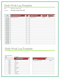 Employee Daily Activity Log Sample Template Excel Free Work