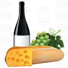 french cheese clipart.  Cheese French Bread With Grapes A Bottle Of Wine And Swiss Cheese To Clipart R