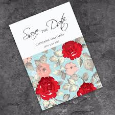 Red Save The Date Cards Retro Rose Save The Date Card
