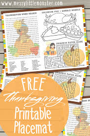 Thanksgiving coloring pages are fun, but they also help kids develop many important skills. Thanksgiving Colouring Page Activities Printable Placemats For Kids Messy Little Monster