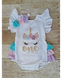 New Deals On Unicorn First Birthday One Romper Headband Baby Girl