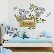 Wandtattoo Namen Kinderzimmer Koala Baum Wunschtext