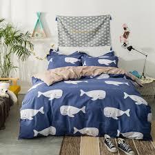 PAPA&MIMA bedding set white Shark dark blue duvet cover sets sheet ... & PAPA&MIMA bedding set white Shark dark blue duvet cover sets sheet and  pillowcase 100% cotton Adamdwight.com