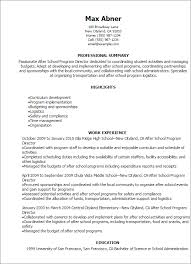 resume school professional after school program director resume templates to
