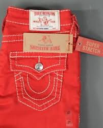 Details About New True Religion Jeans Super Skinny W Flap Size 27 Stretch Ruby Red Womens