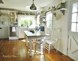 Kitchen:Vintage Shabby Chic Kitchen With Black White Floor Also Bamboo  Blinds Cool Farmhouse Cottage