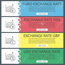 Yen Pound Exchange Rate Chart Currencies Exchange Rates Web Banner Templates Set Market Growth