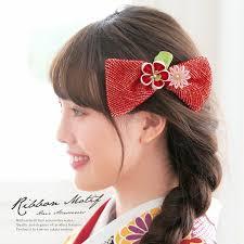髪飾り 赤 レッド 梅 剣菊 花 リボン 絞り つまみ細工 コーム 髪留め