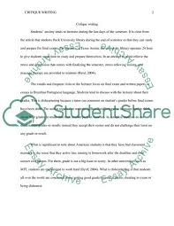 Critique Writing Essay Example Topics And Well Written