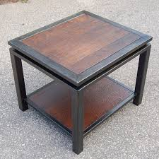 wrought iron and wood furniture. textured walnut and gun metal end table carlson design industrial furnituresteel furniturewrought wrought iron wood furniture