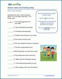 Verb Action Grade 3 Verbs Worksheets K5 Learning