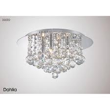 dahlia 4 light round medium flush ceiling fitting in polished chrome and crystal finish