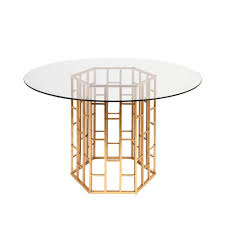 round dining table in gold