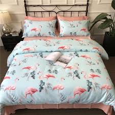100 cotton bed linen full queen king size duvet covers pink flamingo bedding sets bedsheets 4 pillowcases shams pink duvet cover super king size bedding