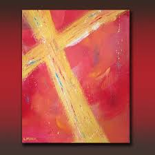 original abstract fine art painting 16 x 20 acrylic gallery wrap canvas gold cross by linda miller free