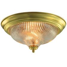 2 light polished brass flushmount