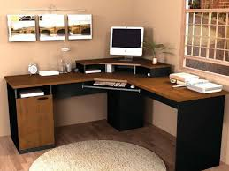 Corner Black And Light Brown Wooden Desk With Smaller Space Above